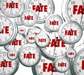 Fate word on 3d clocks moving forward — Stock Photo