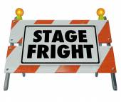 Stage Fright words on a barricade or sign — Stock Photo