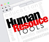 Human Resources words on a website internet screen — Stock Photo