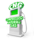CNG acronym in greed 3D letters on an alternative fuel pump — Stock Photo