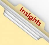 Insight word on a manila folder tab — Stock Photo
