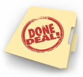 Done Deal words on a contract folder — Stock Photo