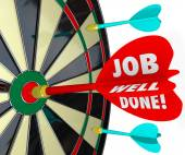 Job Well Done words on a 3d arrow — Stock Photo