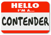 Hello I'm a Contender words on a name tag — Stock Photo