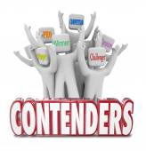 Contenders red 3d words and people cheering — Stock Photo