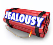 Jealousy word on a time bomb — Stock Photo