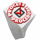 Process and Procedure words around a check mark — Stock Photo