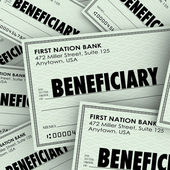 Beneficiary word on checks — Stock Photo