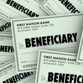 Beneficiary word on checks — Stock Photo