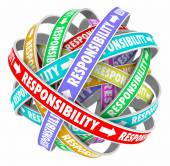 Responsibility word on ribbons in a ball or sphere — Stock Photo