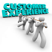Customer Experience 3d words pulled by a team — Stock Photo