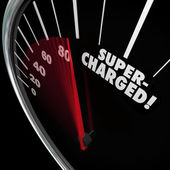 Supercharged word on a speedometer — Stock Photo