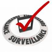 Surveillance word in ring around check box — Stock Photo