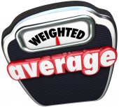 Weighted Average 3d red words on a scale — Stock Photo