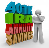 The words 401K, IRA, Annuity, Savings in 3d letters — Stock Photo