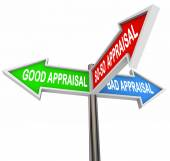 Good, bad and so-so appraisal words on signs — Stock Photo