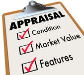 Appraisal word on a clipboard checklist with major assessment factors — Stock Photo