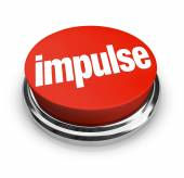 Impulse word on a round, red 3d button — Stock Photo