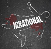 Irrational word on a chalk outline of a person — Stock Photo