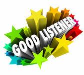 Good Listener 3d words in stars or firewords — Stock Photo