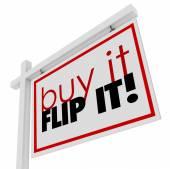 Bu Flip bu kelime satışı işareti için 3d emlak ev satın — Stok fotoğraf