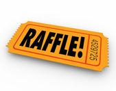 Raffle word on orange ticket — Stock Photo