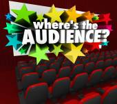 Where's the Audience 3d words on a movie theater screen — Stock Photo