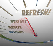 Refresh, Revise, Restart and Rethink words — Stock Photo