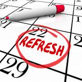 Refresh word circled on a calendar day or date — Stock Photo