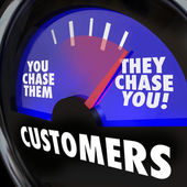 Customers word on a gauge and needle — Stock Photo