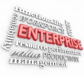 Enterprise related words in 3D letters — Stock Photo