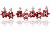 In Synch words in red gears and people working together — Stock Photo