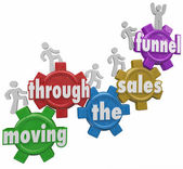 Moving Through the Sales Funnel words on gears — Stock Photo