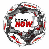 Knowhow word in many thought clouds or bubbles in a ball — Stock Photo
