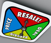 Resale word on a board game spinner — Stock Photo