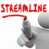 Streamline word written by man with red marker — Stock Photo