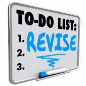 Revise word written on a to do list on dry erase board — Stock Photo