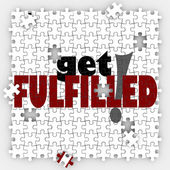 Get Fulfilled words on a puzzle with holes and missing pieces — Stock Photo