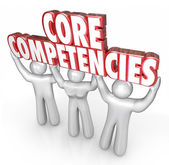 Core Competencies words in red 3d letters held by three workers — ストック写真