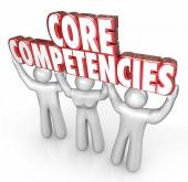 Core Competencies words in red 3d letters held by three workers — Foto de Stock