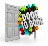 Door to Door 3D words bursting through an open doorway — Stock Photo