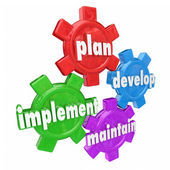 Plan, Develop, Implement and Maintain words on gears — Stockfoto