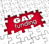 Gap Funding 3D words in a hole in puzzle pieces — Stock Photo