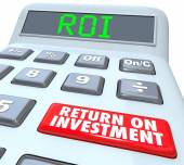 ROI and Return on Investment Words on a calculator display — Stock Photo