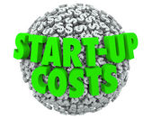 Start-Up Costs 3d words on a ball or sphere — Stock Photo