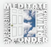Meditate and other 3d words around an open door — Stock Photo