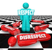Respect word in 3d letters on a single person — Stock Photo