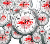 Longevity word on clock faces as time goes by — Stock Photo
