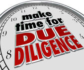 Make the Time for Due Diligence 3d words on a clock face — Stok fotoğraf