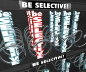 Be Selective words in 3d letters in a snack or vending machine — Stock Photo